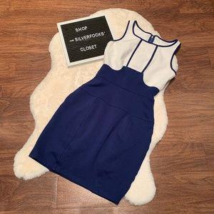 Yoana Baraschi ivory and royal blue fitted dress